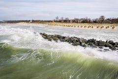 Seaside Wustrow with wild waves Stock Photo