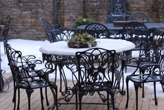Before season. Tables in a beer garden Stock Images