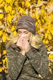 Season allergy. Beautiful woman season change allergy Stock Photo