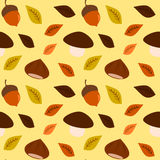 Season autumn fall background with chestnut acorn and mushroom seamless pattern Royalty Free Stock Photography