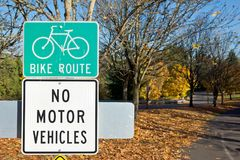 Bike Route and No Motor Vehicle Sign stock photos