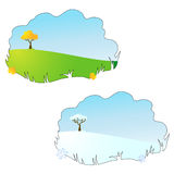 Season (autumn & winter) cartoon field background Stock Photography