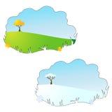 Season (autumn & winter) cartoon field background. Vector Season (autumn & winter) cartoon field background Stock Photography