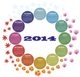 2014 season calendar. Illustration of 2014 color round calendar in italian language vector illustration