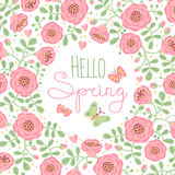 Season card Hello Spring with cute flowers and royalty free illustration