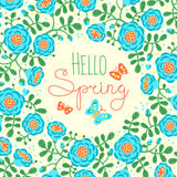 Season card Hello Spring with cute flowers and Stock Image