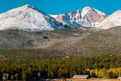 Season changing from autumn to winter. Rocky Mountains, Colorado, USA Stock Image