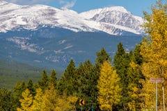 Season changing from autumn to winter. Rocky Mountains, Colorado, USA Stock Photos