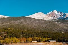 Season changing from autumn to winter. Rocky Mountains, Colorado, USA Royalty Free Stock Photo