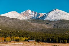 Season changing from autumn to winter. Rocky Mountains, Colorado, USA Royalty Free Stock Photos