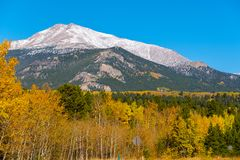 Season changing from autumn to winter. Rocky Mountains, Colorado, USA Stock Photo