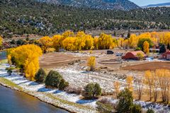 Season changing, first snow and autumn trees. Rocky Mountains, Colorado, USA Stock Photos
