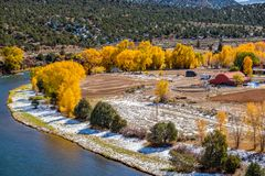 Season changing, first snow and autumn trees. Rocky Mountains, Colorado, USA Royalty Free Stock Images