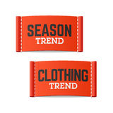 Season and clothing trend labels Stock Photo