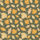 Season cute seamless pattern background illustration with leaves Royalty Free Stock Photo