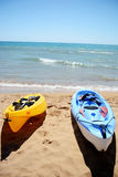 Season end of summer canoe alone. End of summer togheter on the beach Royalty Free Stock Photo