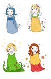 Season fairies. Cute season fairies. Digital colors Royalty Free Stock Image