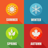 Season flat icons set with long shadow. Stock Image