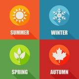 Season flat icons set with long shadow. Stock Image