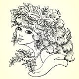 Season girl autumn contour line square. The lovely girl with a wreath from leaves and berries of a mountain ash. Concept of autumn mood. Vector illustration Stock Photos