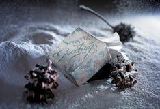 Season greeting. Christmas ornament for season greeting on snow Royalty Free Stock Image
