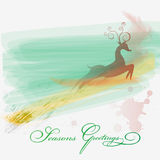 Season greeting card. With rein deer in watercolor style.Eps10 Royalty Free Stock Photo