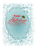 Season Greeting Happy Holidays with light blue background. Full color Stock Photography