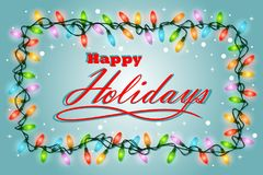 Season Greeting Happy Holidays with light and blue background -. Full color Stock Image