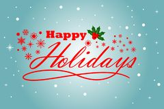 Season Greeting Happy Holidays with light blue background. Full color royalty free illustration