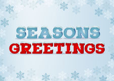 Season greeting inscription in 3d style on blue background with snowflakes. Winter phrase with snow cap text effect. Stock Photography