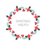 Season greeting wreath with rowanberry,fir branches, poinsettia. Round frame for Christmas cards, invitations, print and winter de Stock Photography