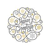 Season Greetings calligraphy lettering and golden snowflake pattern on white background for Christmas greeting card design. Vector. Golden New Year flourish Stock Images