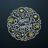 Season Greetings calligraphy lettering and golden snowflake star pattern decoration on white background for Christmas greeting car. D design. Vector golden Royalty Free Stock Photos
