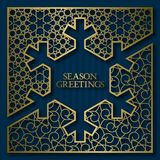 Season greetings card cover background with golden ornamental frame in snowflake shape Stock Image