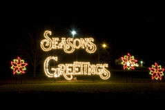 Season Greetings Christmas Lights. At Night Royalty Free Stock Image