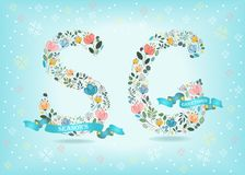 Season Greetings. Floral Letters with Blue Ribbons. Seasons Greetings. Floral letters - S and G. Blue ribbons with golden back and white texts. Graceful Royalty Free Stock Photos