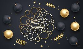 Season Greetings font text flourish golden calligraphy lettering of swash gold typography for Xmas or New Year greeting card desig. N. Vector Christmas confetti royalty free illustration