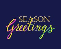 Season Greetings golden and fluid colors lettering for greeting card design.  Stock Photography