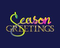 Season Greetings golden and fluid colors lettering for greeting card design.  Stock Image
