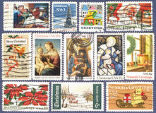 Season Greetings.Postage stamps. Royalty Free Stock Photos