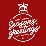 Season greetings typography composition. Vector vintage illustration. Stock Photography