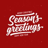 Season greetings typography composition. Vector vintage illustration. Royalty Free Stock Photos