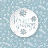 Season greetings typography. Poster design in light blue and white colors. holiday art  illustration Royalty Free Stock Photo