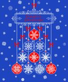 Season greetings for winter holiday with hanging paper baubles Royalty Free Stock Images
