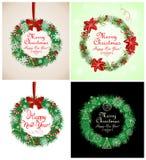 Season greetings with xmas wreath Stock Photo