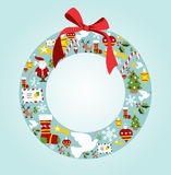 Season icon set in Christmas wreath Stock Photos
