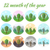 Season icon set of nature tree background. Illustration Royalty Free Stock Photo