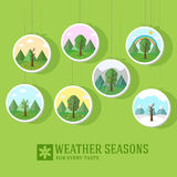 Season icon set of nature tree background. Stock Image
