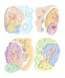 Season icons. Woman take care season white background isolated winter, Spring, summer, autumn, winter royalty free illustration