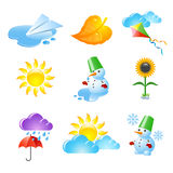 Season icons. Set of 9 season and weather icons Royalty Free Stock Images